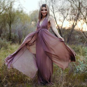 The Clothing Company Tan Open Back Maxi Dress